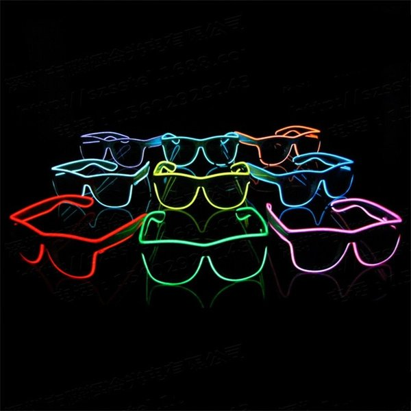 Simple El Glasses Fashion LED Cold Light Up Originality Eyeglasses Rave Costume Party Decorate Prop High Quality 12th WW