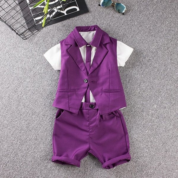 child suit Summer Baby Prom Sets Blue/Purple wedding Flower Boy Dress fashion show kid clothing Vest shirt shorts 3pcs suit