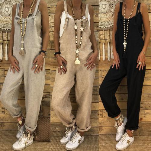 buy popular f847b badee New Women's Casual Overalls Jumpsuit Ladies Romper Pants Long Ladies Solid  Sleeveless Strap Jumpsuits Clothing