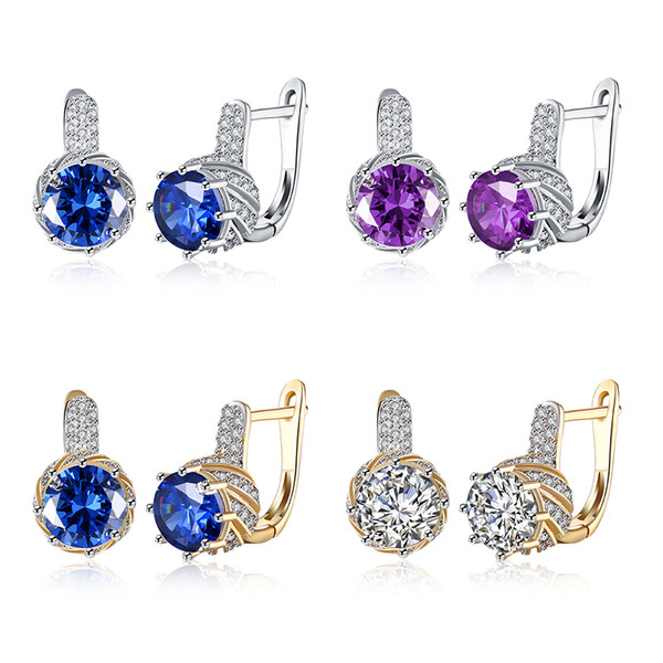 top popular Hot Sale 4 Color White Gold Plated & Champagne Gold Plated Crystal Zircon Clip Earrings Woman Fashion Party Jewelry Wedding Gifts Free Ship 2019
