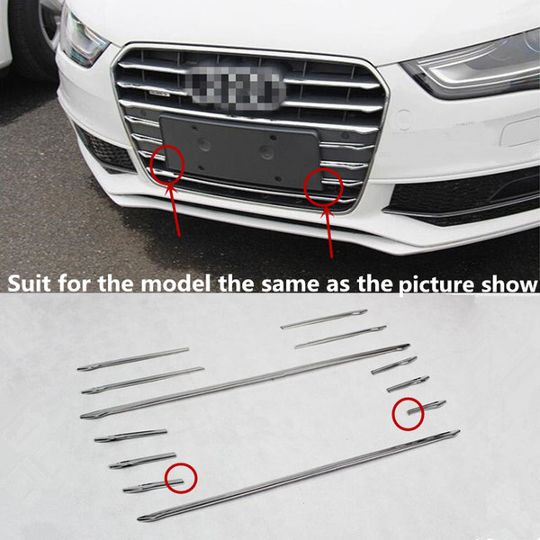 12pcs Stainless steel Car Front Grill Grille Decorative Cover Trim Strips For Audi A4 B8 2013-16 Car Styling decals