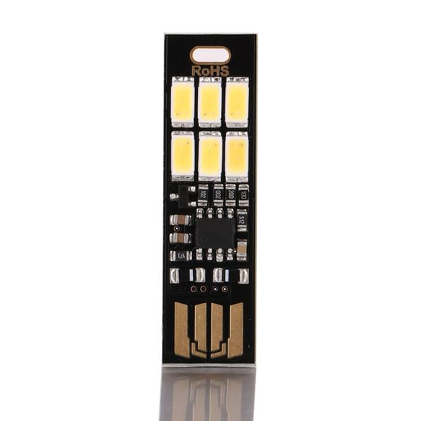 Gece Lambası Mini Cep Kart USB Güç 6 LED Anahtarlık Gece Işıkları Dokunmatik Dimmer Sıcak Işık için Güç Banka Bilgisayar Dizüstü