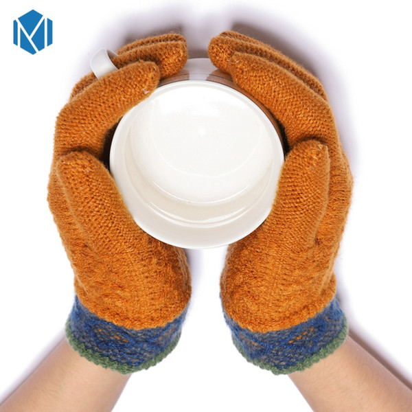 Fashion Solid Cashmere Warm Winter Gloves For Boys Girls Children Knitted Thickened Cotton Mittens For Boys Girls Kids