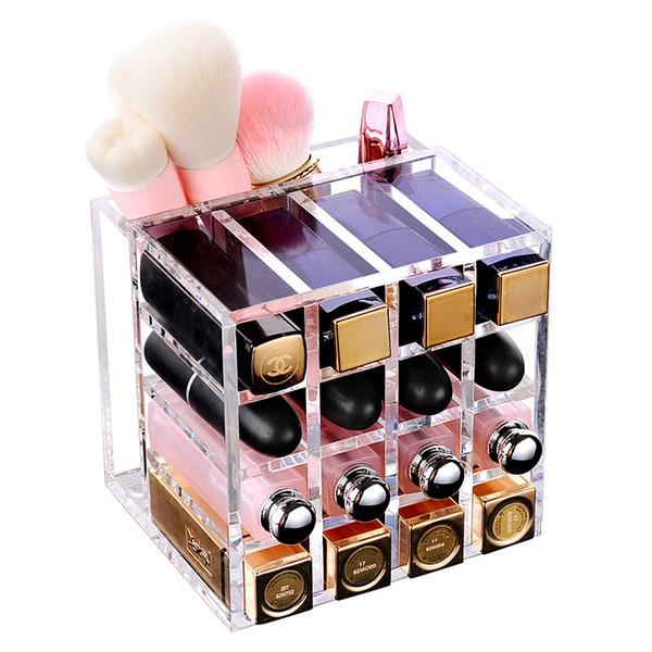 Clear Acrylic Lipstick Box Makeup Organizer Makeup Brush Holder Lipstick Organizer Desktop Cosmetic Storage Box Display