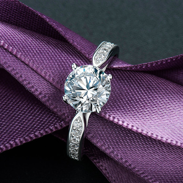 1 karat diamond ring, diamond ring, women's ring, sterling silver jewelry, Japanese and Korean students.