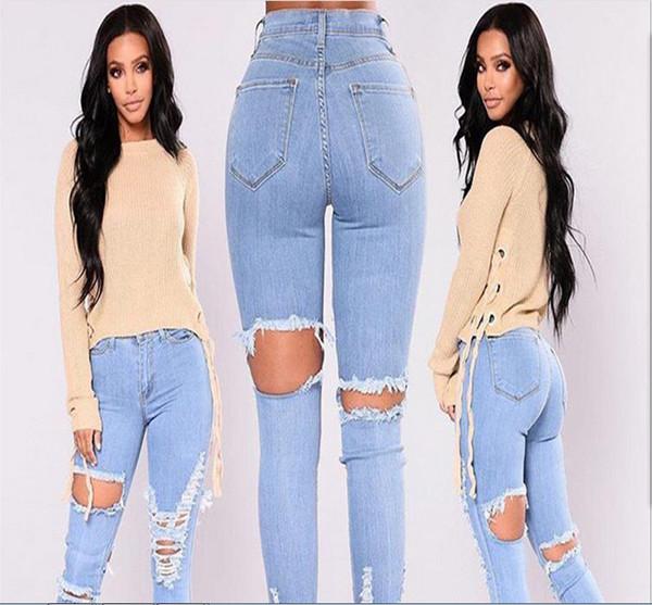 Jeans moda donna 2018 taglia S M L XL 2XL 3XL colore puro