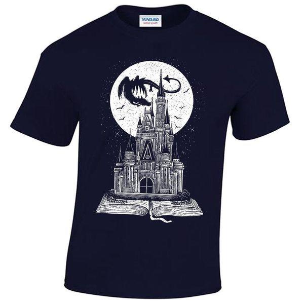 Fairy Tail Book T-Shirt Mens Story Dragon Castle Fantasy Moon Stars