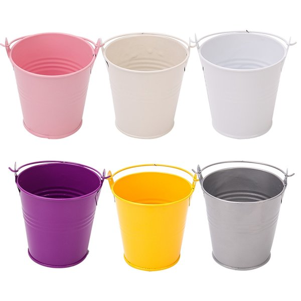1 Unids Favores y Regalos de Boda Caja de Dulces de Metal Mini Cubo de lata Bolsas de Regalo con Asas Decoración de Bodas Suministros para Fiestas de Eventos 7 colores