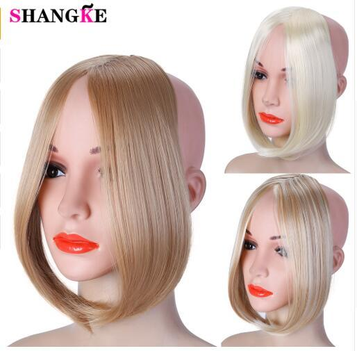 2019 Clip largo en la parte frontal del cabello Flequillo lateral Flequillo Extensión del cabello Real Natural Sintético flequillo pieza de cabello