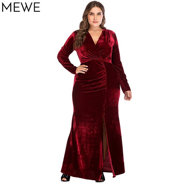 Women Dresses of the Big Sizes Red Christmas Elegant Evening Long Party Dress Vintage Velvet Autumn Winter Side Slit Maxi Dress