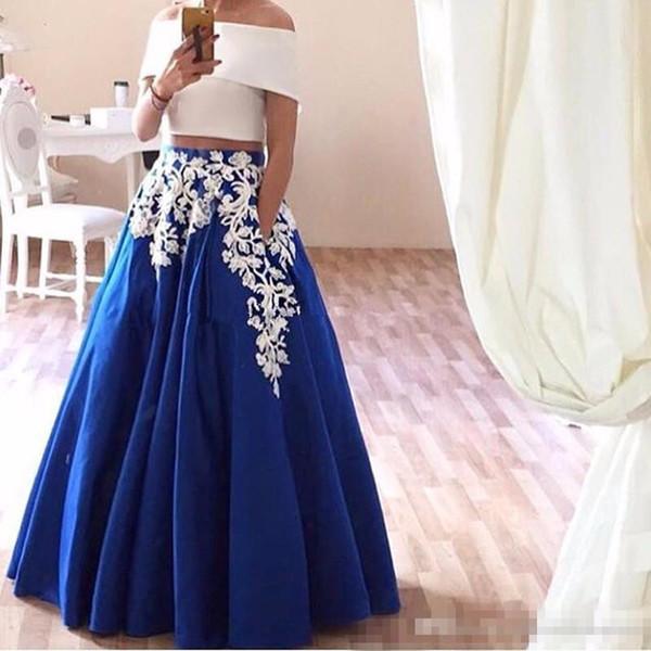 2018 Two Piece Prom Dresses Lace Appliques Boat Neck Satin Arabic Evening Dresses Elegant Royal Blue Party Gown Robe De Soiree