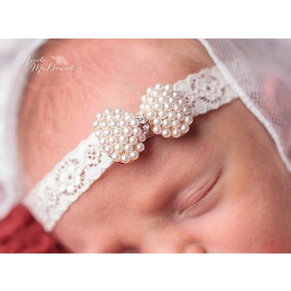 1Pc Kids Princess Lace Rhinestone Pearl Headband Newborn Christening Headband Girls Baptism Kids Hair Bands Accessories
