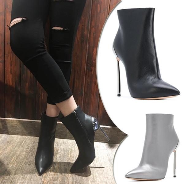 Silber Heel Stiefeletten High Schuhe Schwarz Großhandel Von Damen Spitz 41 Aliceclothesworld65 33 Botas 10cm 34 Größe 2019 Metall Und eodCxB