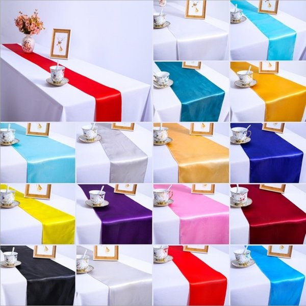 10pcs/lot Luxury Satin Table Runner 30x275cm Wedding Cloth Runners Silk Organza Party Table Decoration Christmas Accessories Home Textiles