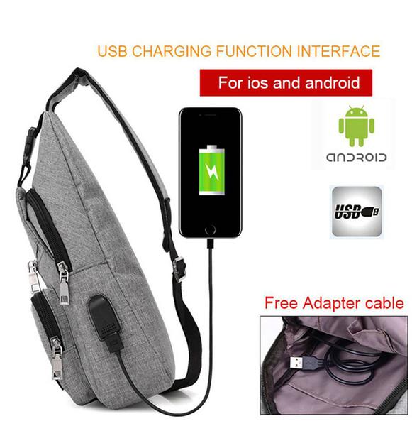 Male Single Strap Backpack USB Charge Chest Bags Pack Antitheft Travel Crossbody Bag For Men Sling Shoulder Bag Packpack