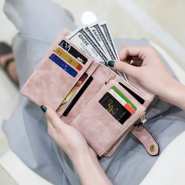 Wholesale sand-grinding wallet female short Korean version of the student fresh and lovely more than 30 % card lady's wallet