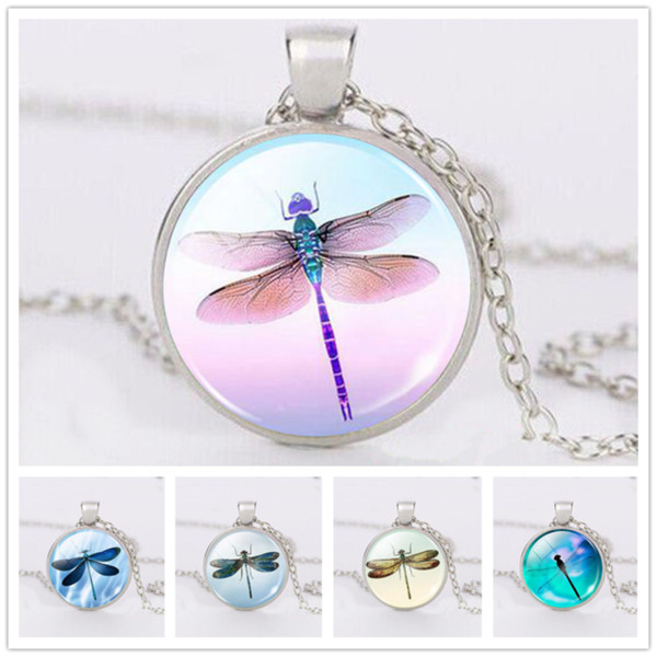 Fashion Spring Dragonfly Necklace Pendant Cabochon Glass Accessories Creative Unisex Jewelry Gifts
