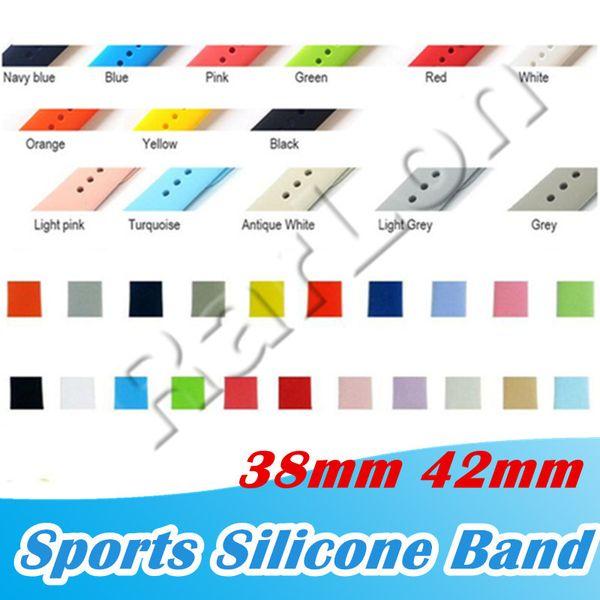 Nuovi cinturini sportivi in silicone a 32 colori di ricambio per cinturino da polso con cinturino in cinturino Apple con adattatori accessori 38mm 40mm 42mm 44mm cinturino