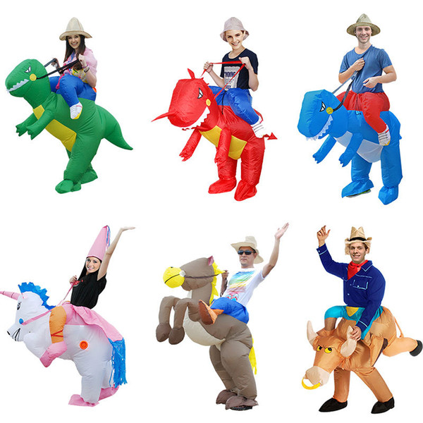 Fashion Cartoon Props Clothing Multi Style Dinosaurs Unicorn Pony Pikachu Inflatable Adult Children Performance Clothings Hot Sale 70ky ff