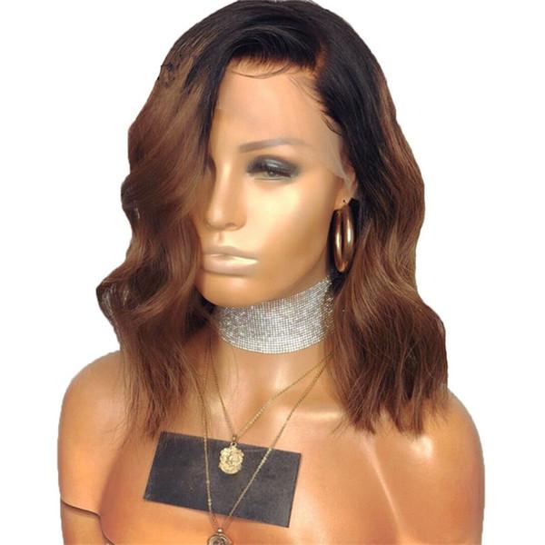 Court Bob Wavy Virgin Hair Full Lace Front Perruque Partie centrale 16inch 1b # 30 # Ombre Blonde Perruque Brésilienne de Cheveux Humains avec des cheveux de bébé