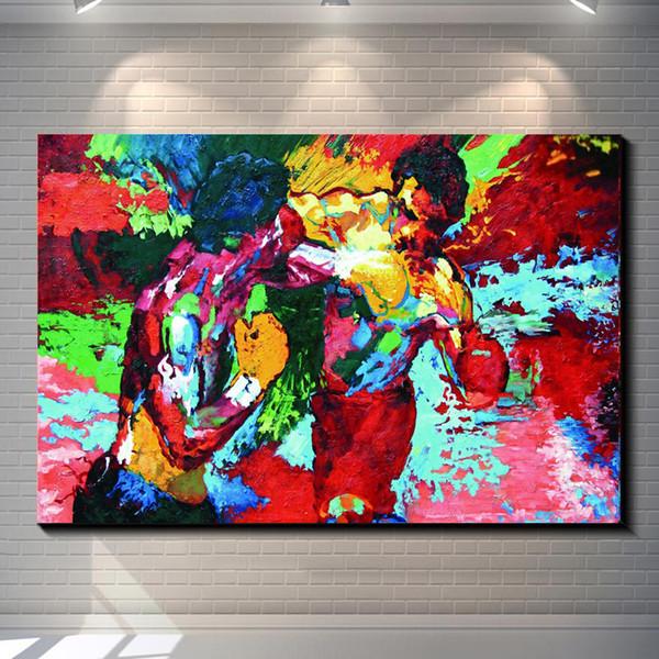 Rocky Vs Apollo - Leroy Neiman Boxeo, Impresiones de lienzos Arte de la pared Pintura al óleo Decoración para el hogar / (Sin marco / Enmarcado)
