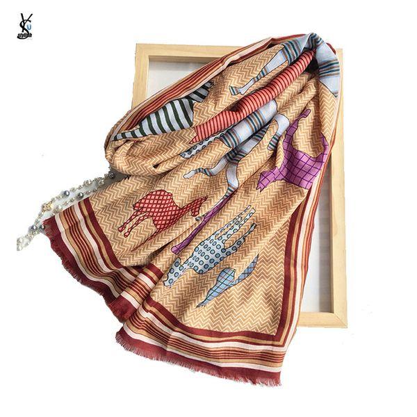 Cotton Linen Tiger Leopard Print Scarves Stoles Horse Blanket Luxury Scarf Tie Dye Shibori Rough Block Circle Totem Shawl YG740