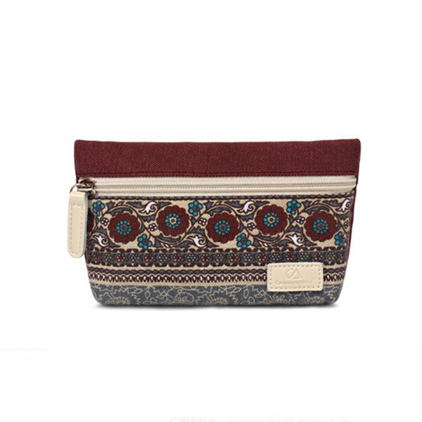 Ethnic Style Floral Wristlet Clutch Bag Women Vintage Canvas Purse Wallet Long Clutch Bag Card Coin Holder Phone