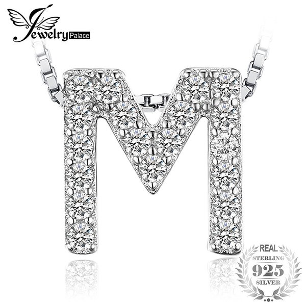 """JewelryPalace Letter """"M"""" Initial Cubic Zirconia Pendant Necklace Fashion 925 Sterling Silver Necklace For Women 45cm Y1892806"""
