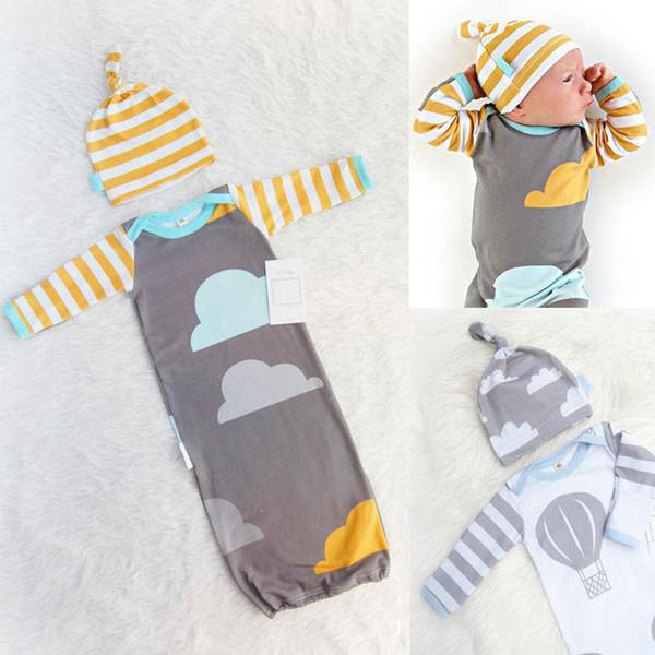 2pcs!!100%Cotton Newborn Baby Infant Swaddle Wrap Blanket Long Sleeve Sleeping Bag + Hat 0-12Month