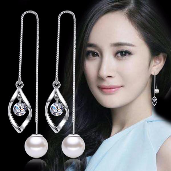 Cubic Zirconia Imitation Peari Double Ball Drop Dangle Earrings Long Chain Ear Lines Women Fashion Jewelry CZ Diamond WHE165