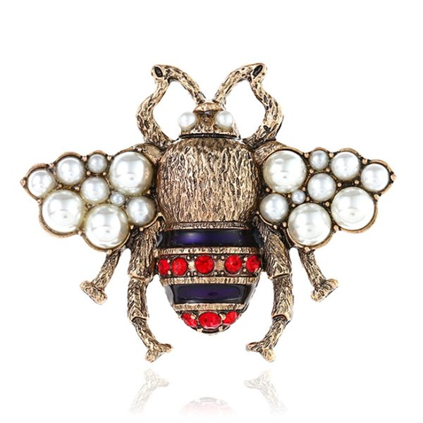 Handmade Cute Alloy Imitation Pearl Bee Badge Brooches Pins Fashion Jewelry For Girl Woman Jewelry Accessories