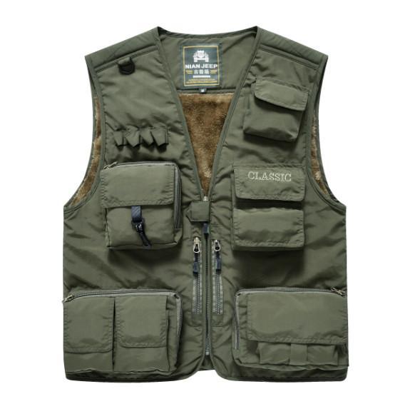 NIANJEEP Uomini di marca multi-pocket fotografo maglia inverno addensare gilet casual giacca senza maniche verde militare reporter gilet