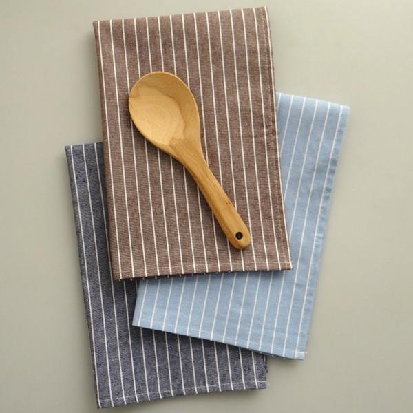 Fournitures de cuisine à domicile en gros d'usine, sets de table à rayures en lin de coton pop international, serviettes de table à la maison, 3 couleurs,