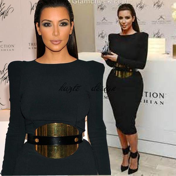 Hunter green Women short Celebrity cocktail dress Kim kardashian prom dress Long sleeve Black Sheath Cotton Crew Neck evening wear gown