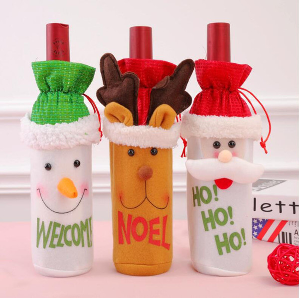 New 3D Christmas Flask Red Wine Bag With Tether Bar Club Beer Bottle Cover Christmas Decoration Props Santa Claus Snowman Elk Design