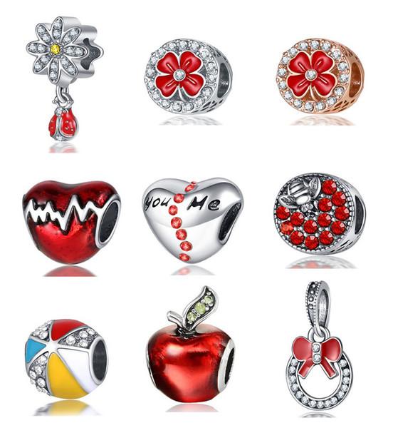 Großhandels20Pcs rote Apple-Blumen-Marienkäfer-Feuer-Ballon-Herz DIY lose Korn-Schmucksache-Markierungs-Charme-passendes Pandora-Armband-europäisches Frauen-Geschenk