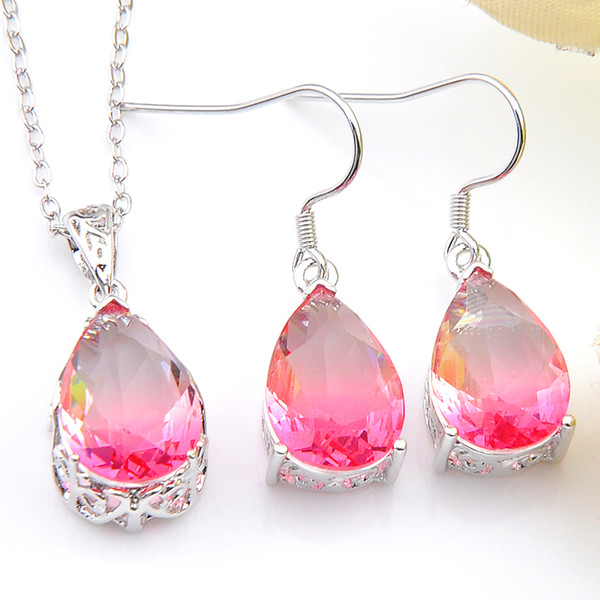 Jewelry Sets Wholesale Holiday Jewelry Gift Drop Fire Pink Tourmaline Crystal Gems 925 Sterling Silver Pendants Drop Earrings Jewelry Sets