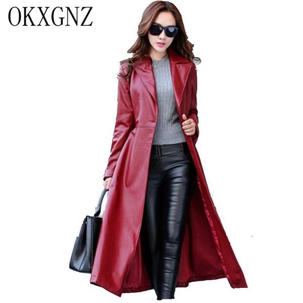 OKXGNZ Long Leather Coat Female 2017SPring Fashion Large Size Women High-grade PU Leather Jacket Casual Female Windbreaker AH084