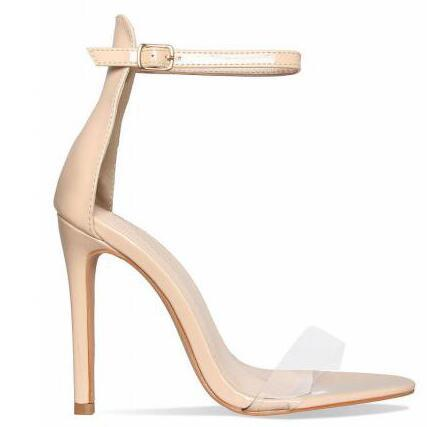 Pink Gold Red Patent Leather Women Pumps Open Toe Ankle Buckle Strap Women Sandals Clear PVC High Heels Women Shoes