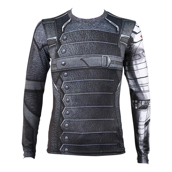 2016 Movie Captain America 3 T-shirts Cosplay Winter Soilder T-Shirts Costume Bucky Barnes T-Shirts Cosplay Party Halloween