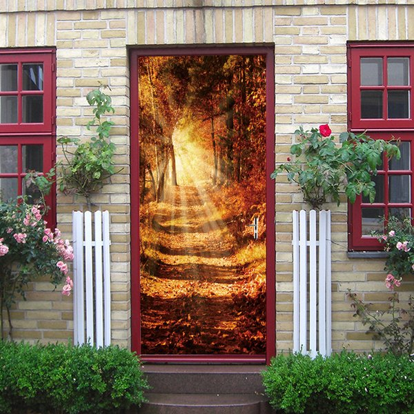 2pcs/set 77*200cm Creative Fridge DIY Door Cover Door Sticker Fashion Nature Beautiful Landscape poster PVC Art Decal Wall Mural Home Decor