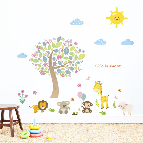 Large cartoon children's room, bedroom adornment, lovely animals, tree wall stickers, nursery walls, self adhesive paper painting.