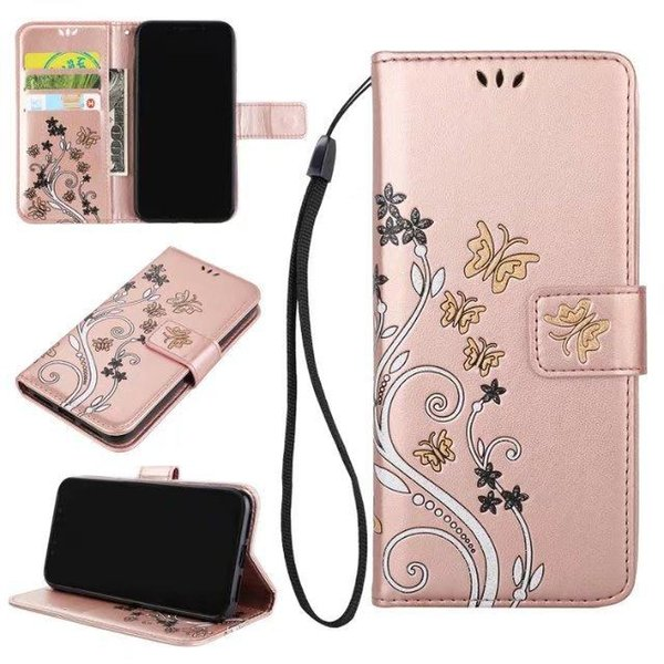 Flower Tree Butterfly Wallet Leather Pouch Case For iphone 7 8 x plus for samsung Strap Don't Touch My phone Girl Card Stand Cover