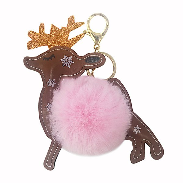 Cute Fluffy Reindeer Key Chains Artificial Rabbit Fur Ball Pom Pom Key Chains Xmas Deer Animal Bag Charms Trinket Car Rings