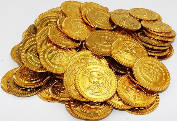 100Pcs/bag New Arrival Pirate Styles Fake Gold Coins Game Shows Props Party Supplies Free shipping