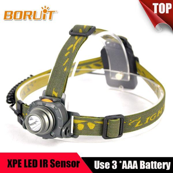 2000LM XPE LED faro Sensor IR 3 modos Linterna del faro Camping 100 M Distancia AAA Batería Antorcha Cabeza