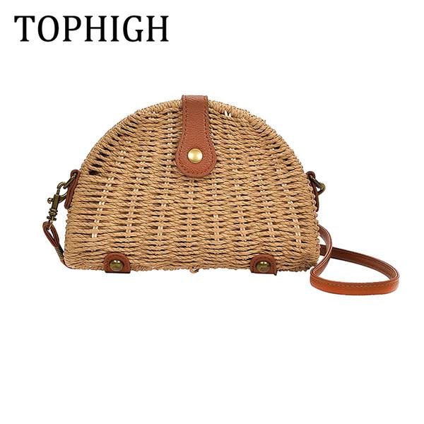 2017 Nueva moda mujer bolsas de paja semi-circle Shoulder Bag feminina bolso de la rota señora crochet ocasional Summer Beach Bag C111