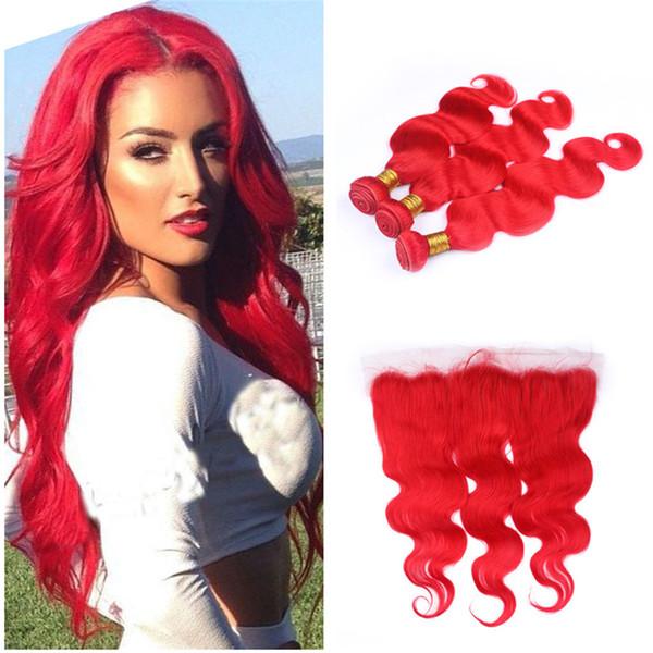 Renkli Kırmızı İnsan Saç 13x4 Tam Dantel Frontal Kapatma ile Uzantıları Uzantıları Vücut Dalga Bakire Brezilyalı Kırmızı Saç Atkılar 3 Demetleri Fırsatlar