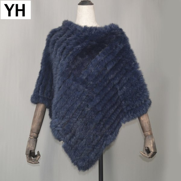 Hot Sale Women Real Natural Rabbit Fur Pashmina Casual Knitted Striped Real Rabbit Fur Scarf Lady Real Rabbit Fur Poncho Shawl D18102905