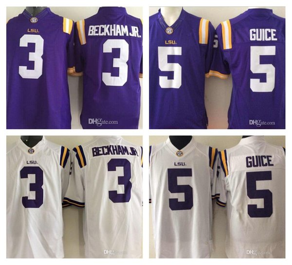 Men's NCAA LSU Tigers #3 Odell Beckham Jr. #5 Derrius Guice Limited Jersey Purple White Sec College Football Stitched Size S-3XL